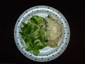 Risotto and salad