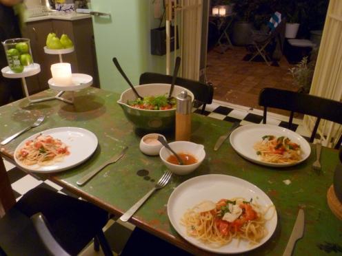 Bill Grangers Tomato Pasta, Tomato Dressing & a Green Salad