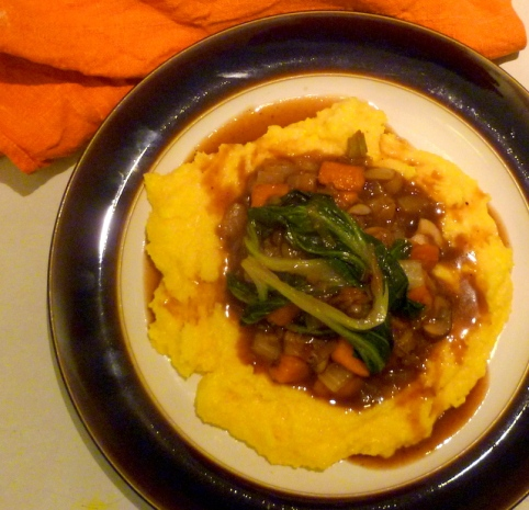Vegetables, Gravy & Polenta