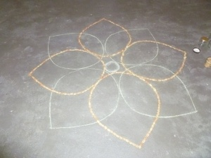 Making the Rangoli