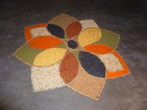 Rangoli made with pulses