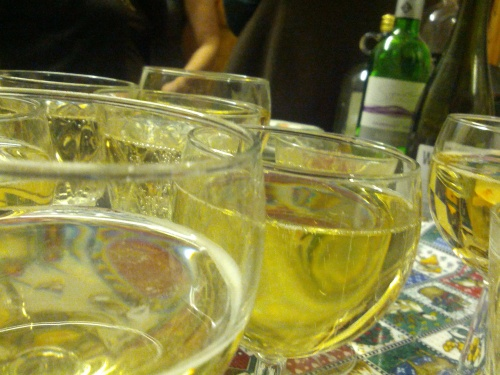 A table laden with sparkling wine
