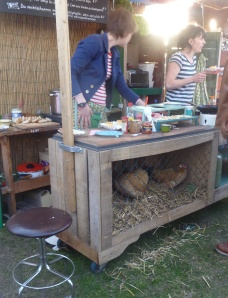 Chickens in one of the stalls