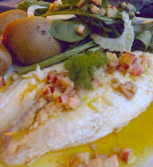 Tilapia Fillet and Rhubarb Vinaigrette