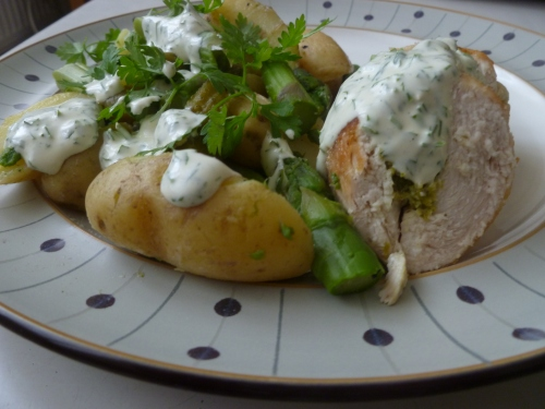 Asparagus Salad, Chervil Dressing and Asparagus Mousse-Stuffed Chicken Ballotine