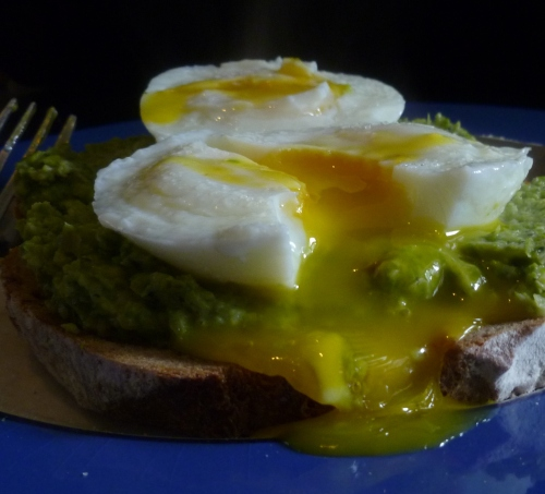 Asparagus Mousse and soft poached egg on sourdough toast