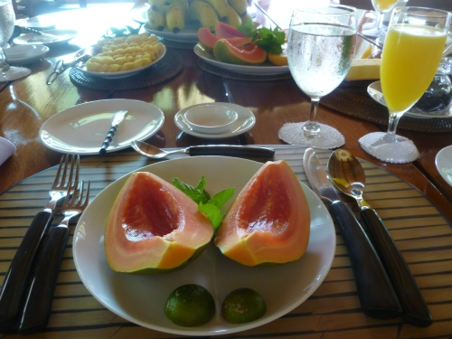 A fresh Fruit Breakfast - papaya and pineapple