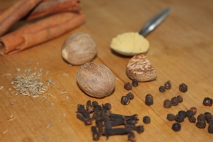 Speculaas Spices: cinnamon, nutmeg, ground ginger, aniseeds, cloves, peppercorns