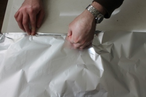 Concertinering foil to make a larger smoker