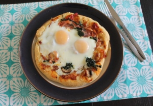 Breakfast Pizza - Bacon, sausage, mushrooms, spinach and egg