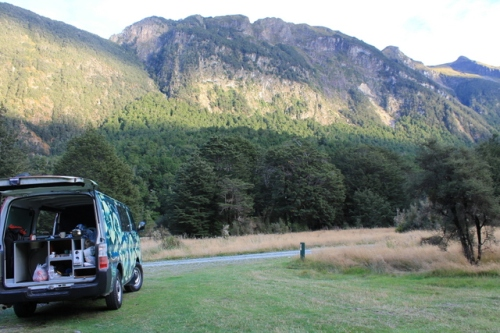 Campervan in Mackay Creek DOC Campsite, Fiordland, NZ
