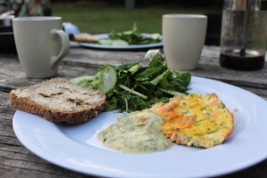 Trout and Spring Onion Omelette, with Campers Mayonnaisse