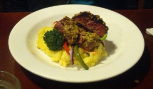 Pistachio Crusted Lamb at the Last Kitchen, Fox glacier, NZ