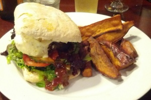 Lamb Burger and Sweet Potato Chips at the Last Kitchen, Fox Glacier, NZ